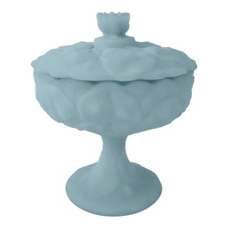 Fenton Blue Satin Glass Water Lily Candy Dish For Sale