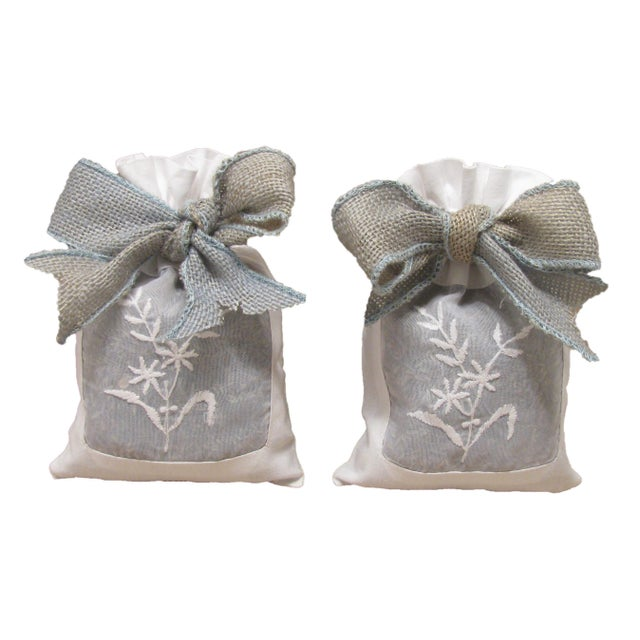 French French Linen Sachets With Lavender, Pair For Sale - Image 3 of 3