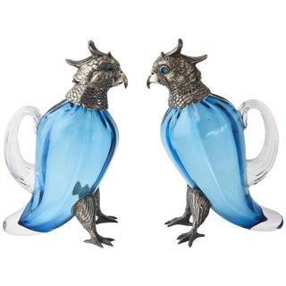 20th Century Figurative Sterling Silver & Art Glass Bird Oil and Vinegar Dispensers - a Pair