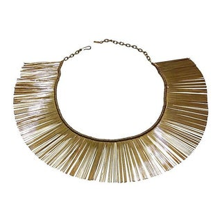 Gold-Plated Metal Fringe Collar Necklace