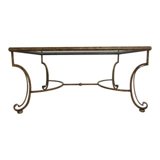 Theodore Alexander Gold Gilt French Regency Wrought Iron Coffee Table
