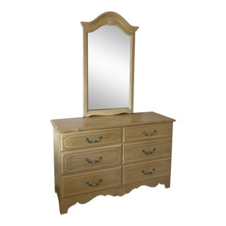 1990s Ethan Allen Country French Dresser With Mirror For Sale