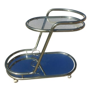 Mid Century Champagne/Chrome Bar Cart