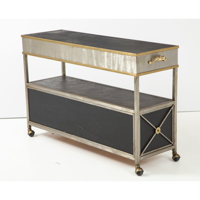 Black Brass and Steel Console For Sale - Image 8 of 13