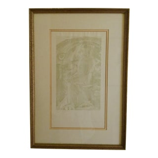 1960s Vintage Tennessee Williams Self Portrait Watercolor Painting For Sale