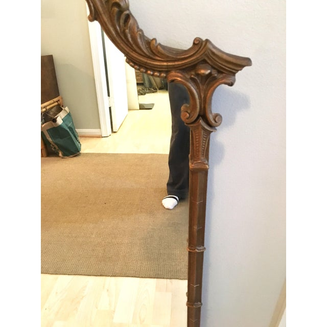 Wood Vintage LaBarge Style Chinoiserie Chippendale Pagoda Bell Mirror For Sale - Image 7 of 11