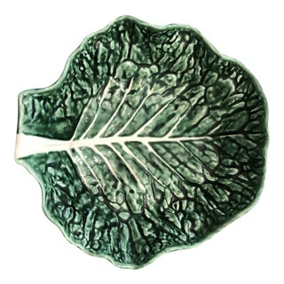 1950s Mediterranean Secla of Portugal Majolica Cabbage Leaf Serving Bowl For Sale