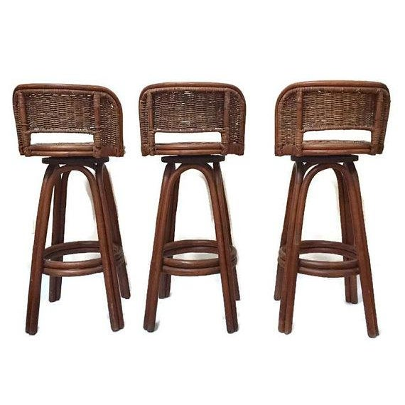 Vintage Rattan & Bamboo Swivel Bar Stools - Set of 3 For Sale - Image 4 of 11