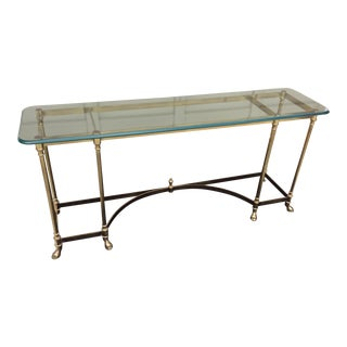 Hollywood Regency Brass and Glass Console Table For Sale