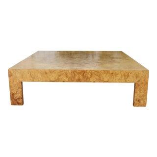 Milo Baughman Burlwood Low Coffee Table