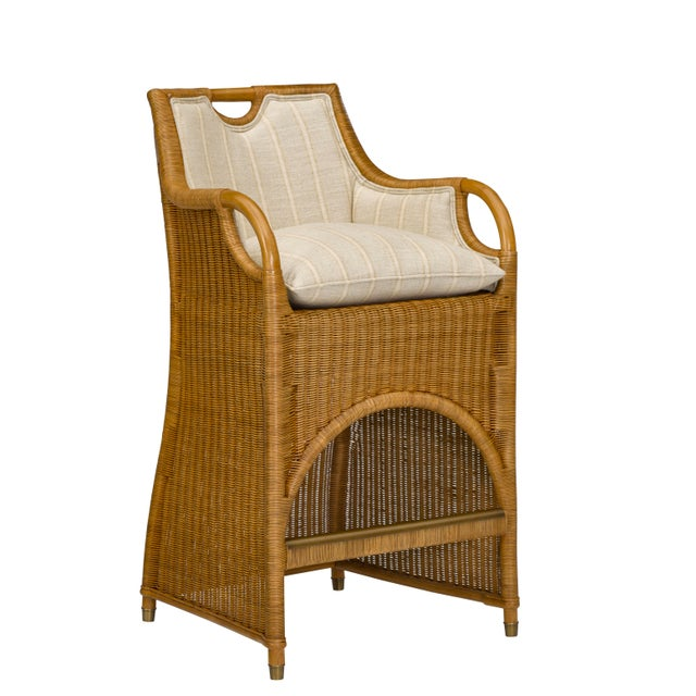 Transitional Ralph Lauren Jamaica Wicker Bar Stool For Sale - Image 3 of 5