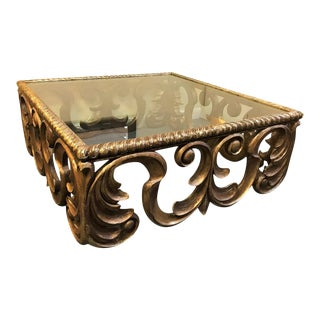 """Hollywood Glam Extra Large 51"""" Square Carved Wood and Glass Coffee Table For Sale"""