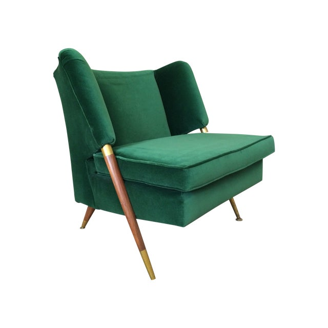 Mid-Century Emerald Velvet Chair For Sale