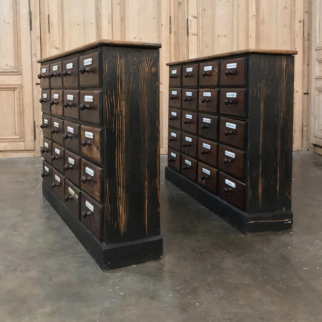 Rare Pair Antique French Pharmacy Cabinets With Original Enamelled Labels  For Sale - Image 11 of - Lovely Rare Pair Antique French Pharmacy Cabinets With Original