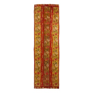 Antique Kirsehir Red and Gold Wool Floral Runner Rug - 3′5″ × 11′6″ For Sale