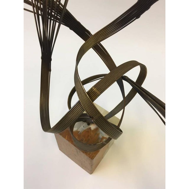 Gilded Steel and Onyx Tabletop Sculpture by Curtis Jeré For Sale In Palm Springs - Image 6 of 9
