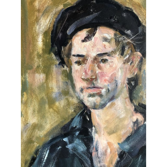 Figurative Vintage Oil Portrait of a Man on Canvas, Framed For Sale - Image 3 of 10