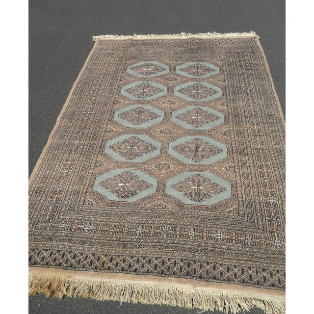 Mid 20th Century Vintage Mid-Century Handwoven Wool Pakistan Bokhara Area Rug - 4′3″ × 6′7″ For Sale - Image 5 of 12