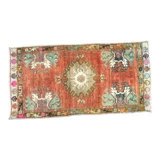 Vintage Floral Turkish Handmade Decorative Orange Small Rug For Sale