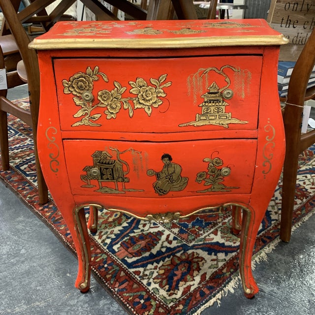 Red 20th Century Asian Red Hand Painted Accent Table For Sale - Image 8 of 8