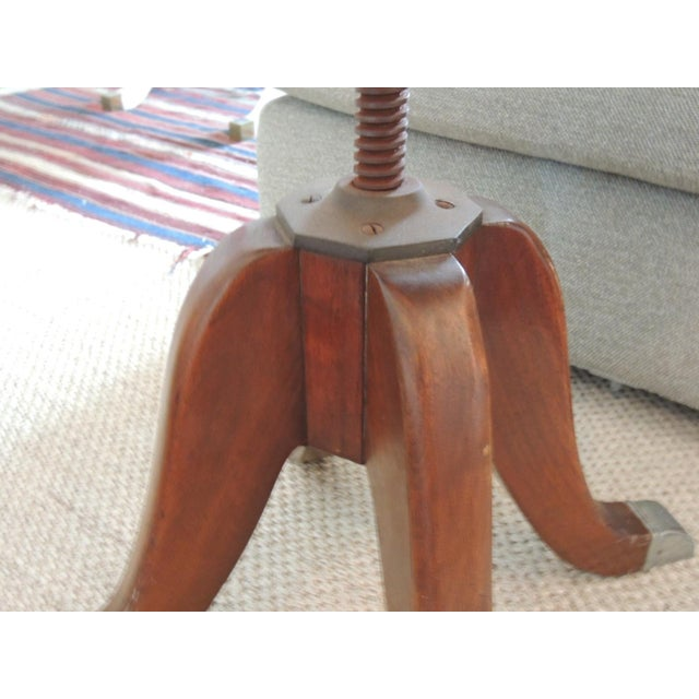 1980s Vintage Hamilton Wood and Iron Industrial Rolling Swivel Stool For Sale - Image 5 of 8