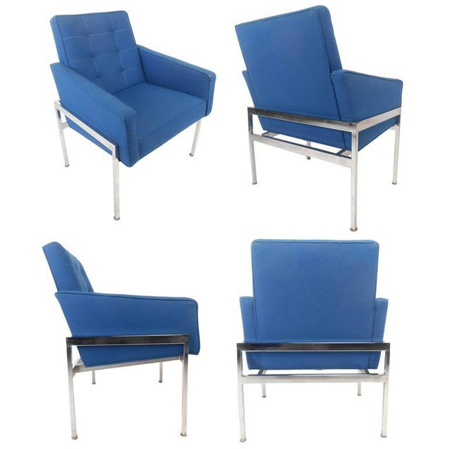 Mid-Century Modern Mid-Century Modern Chrome Frame Tufted Lounge Chairs - A Pair For Sale - Image 3 of 11