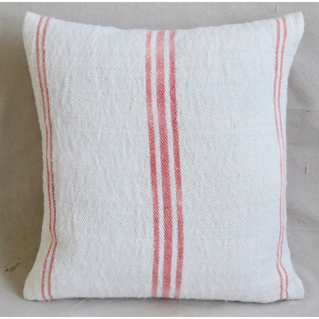"""Abstract French Homespun Rose/Pink Striped Grain Sack Feather/Down Pillows 19"""" X 21"""" - Pair For Sale - Image 3 of 13"""