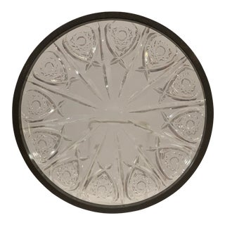 Vintage Mid-Century Modern Crystal Serving Plate With Silver Colored Metal Trim For Sale