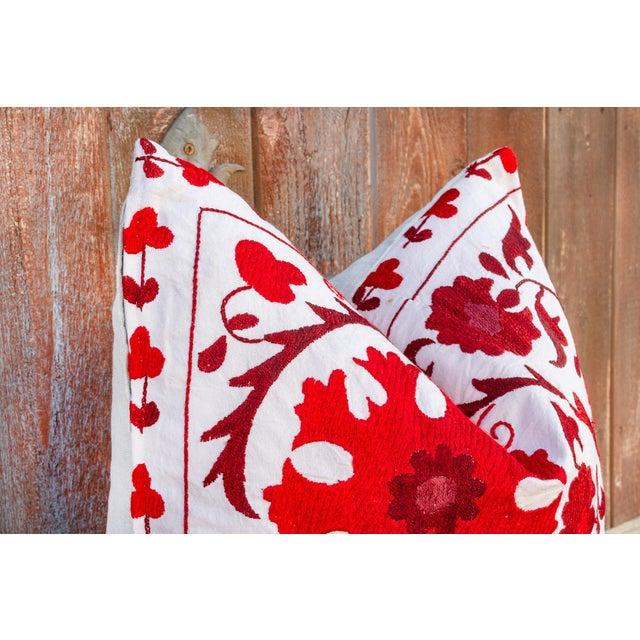 Boho Chic Rakti Royal Red Suzani Pillow For Sale - Image 3 of 10