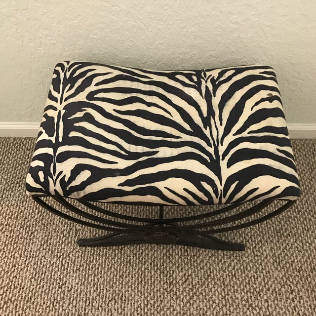 Art Deco Style Hand Forged Iron Upholstered Bench - Image 2 of 6