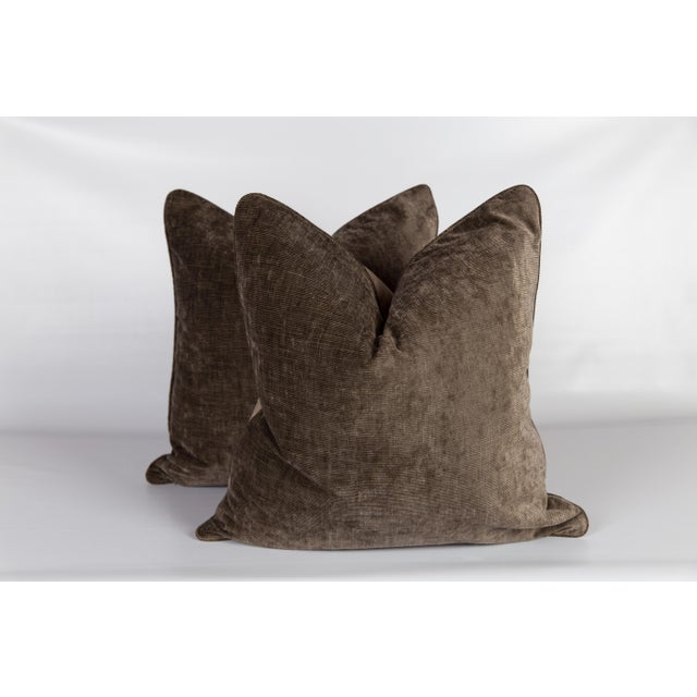Plaid & Velvet Whittington Pillows - A Pair For Sale - Image 4 of 5