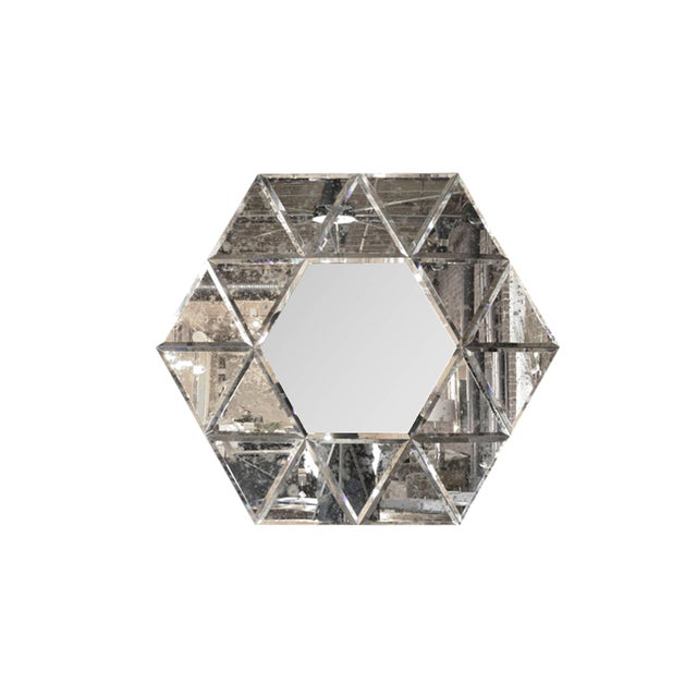 Large-scale hexagonal antiqued mirror, circa 1940s. Mint condition.