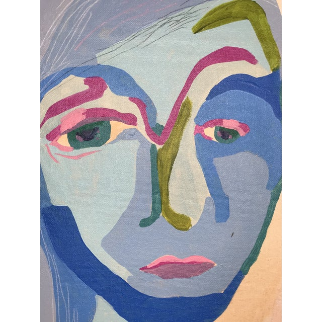 """Blue Contemporary Abstract Portrait Painting """"Here We Go, No. 3"""" For Sale - Image 8 of 9"""