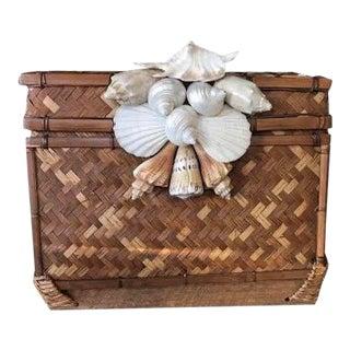 Boho Vintage Shell Basket For Sale