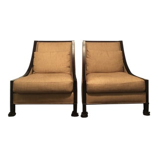 Barbara Barry for Baker Modern Beige and and Brown Slipper Chairs - A Pair For Sale