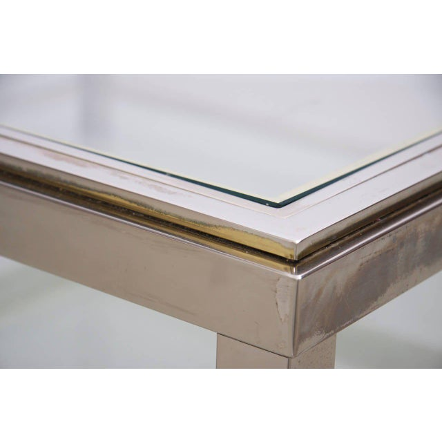 Two-Tier Brass and Chrome Coffee Table attributed to Willy Rizzo For Sale - Image 4 of 6