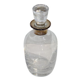Vintage Art Deco Revival Crystal and Sterling Silver Decanter For Sale