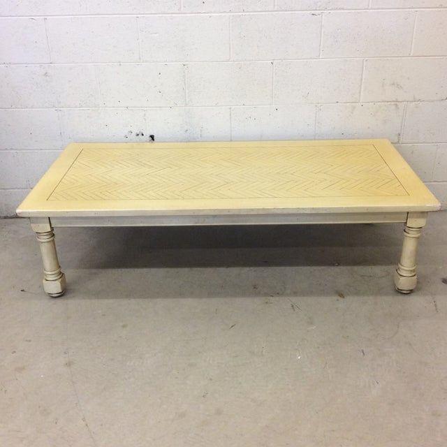 French Country Yellow Wood Coffee Table with Herringbone Pattern Top For Sale - Image 9 of 9
