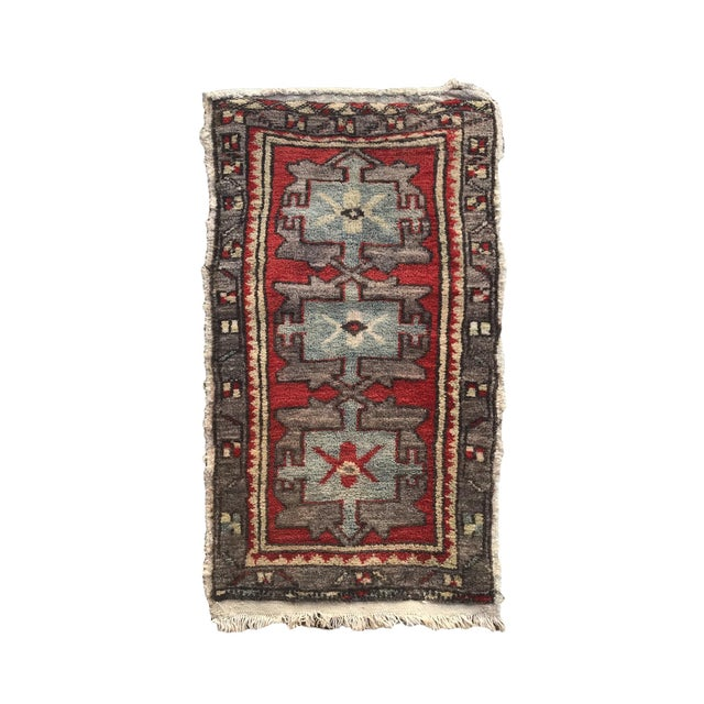"""Red Hand Made Vintage Tribal Turkish Runner Rug Mat 1'8""""x2'9"""" For Sale - Image 8 of 8"""