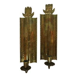 Hand Made Brass Candle Wall Sconces With Pineapple Motif Made in Sweden - a Pair For Sale