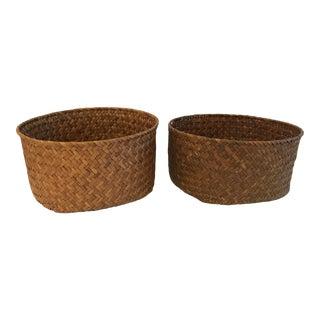Vintage Woven Planter Baskets - a Pair For Sale