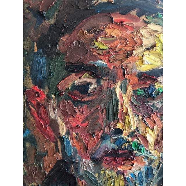 Joe Reno Textural Self Portrait Painting For Sale In Seattle - Image 6 of 9