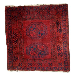 1900s Hand Made Antique Afghan Ersari Rug - 3′7″ × 3′8″ For Sale