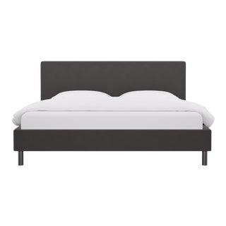 King Tailored Platform Bed in French Grey Velvet For Sale