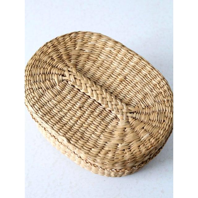 Textile Vintage Sweetgrass Basket For Sale - Image 7 of 9