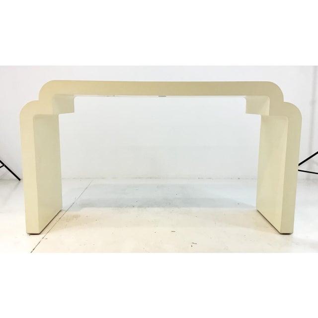 2010s Asian Modern Style Celerie Kemble for Henredon Ellsworth Cream Wood Console Table For Sale - Image 5 of 6