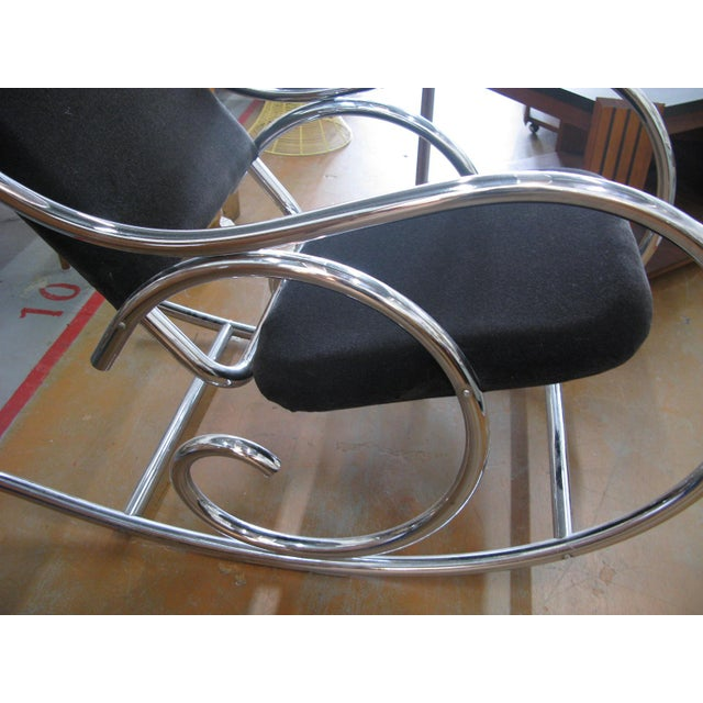 Metal 1970s Mid-Century Modern Curvaceous Upholstered Chrome Rocking Chair For Sale - Image 7 of 10