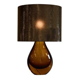 Italian Mid Century Modern Amber Glass Table Lamp