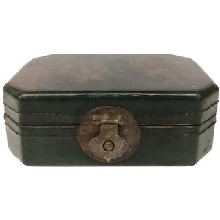 Antique Chinese Leather Money Chest For Sale