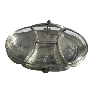 Silver Plated Centerpiece With Crystal Cut Glass Insert Divider For Sale